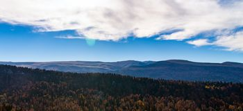 Scenic landscape with trees in mountains. Scenic landscape with trees in mountain forest in autumn royalty free stock images