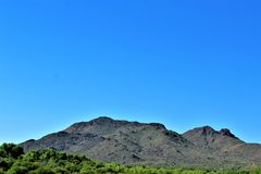 Tonto National Forest, off Highway 87, Arizona U.S. Department of Agriculture, United States. Scenic landscape, vegetation and mountain range view off of Highway royalty free stock image