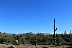 Tonto National Forest scenic view from Mesa, Arizona to Canyon Lake Arizona, United States. Scenic landscape and vegetation view from Mesa, Arizona to Canyon royalty free stock image