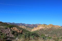 Tonto National Forest scenic view from Mesa, Arizona to Canyon Lake Arizona, United States. Scenic landscape and vegetation view from Mesa, Arizona to Canyon stock photography