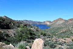 Tonto National Forest scenic view from Mesa, Arizona to Canyon Lake Arizona, United States. Scenic landscape and vegetation view from Mesa, Arizona to Canyon stock photo