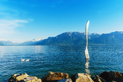 Scenic and landscape of Vevey at Geneva lake in Switzerland Stock Images