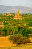Scenic landscape view of antient temples at sunrise, Bagan, Myan Royalty Free Stock Photography