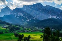 Scenic landscape view Dolomites Italy stock photo