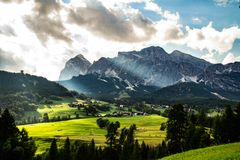 Scenic landscape view Dolomites Italy stock images