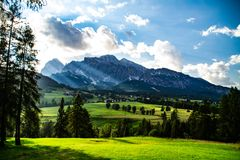 Scenic landscape view Dolomites Italy royalty free stock image