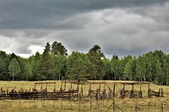 White Mountains Apache Reservation landscape, Arizona, United States. Scenic landscape view with a fence of the White Mountains Apache Tribe of the Fort Apache Royalty Free Stock Photo