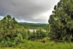 Lynx Lake, Bradshaw Ranger district, Prescott National Forest, State of Arizona, United States. Scenic landscape view of Lynx Lake, Bradshaw Ranger district royalty free stock photo