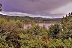Lynx Lake, Bradshaw Ranger district, Prescott National Forest, State of Arizona, United States. Scenic landscape view of Lynx Lake, Bradshaw Ranger district stock photo