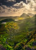 Scenic landscape view of Quiraing mountains in Isle of Skye, Scotland, UK stock photo