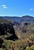 Salt River Canyon, within the White Mountain Apache Indian Reservation, Arizona, United States. Scenic landscape view of the Salt River Canyon within the White stock photos