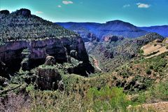 Salt River Canyon, within the White Mountain Apache Indian Reservation, Arizona, United States. Scenic landscape view of the Salt River Canyon within the White stock photography