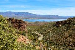 Theodore Roosevelt Lake, Gila County, Arizona. Scenic landscape view of Theodore Roosevelt Lake in Gila County, Arizona Royalty Free Stock Image