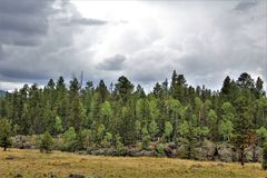 White Mountains Apache Reservation landscape, Arizona, United States. Scenic landscape view of the White Mountains Apache Tribe of the Fort Apache Reservation Royalty Free Stock Image
