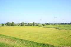 Scenic landscape in Wangerland, Friesland, Lower Saxony, Germany. Scenic landscape in Wangerland, farmlands and wind turbines in Friesland, Lower Saxony, Germany Stock Images