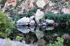 Superstition Wilderness Area, Maricopa, County, Arizona, United States. Scenic landscape with water and vegetation of the Superstition Wilderness Area, located Stock Photos