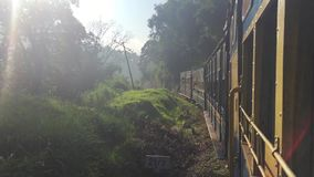 Scenic landscapes passing behind train window. India. HD. stock video