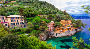 Scenic Ligurian coast of Italy - beautiful luxury Portofino. Incredible nature in Ligurian coast,Portofino village,Italy Stock Photography