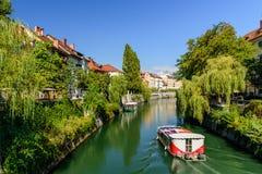 The scenic Ljubljanica river in Ljubljana Stock Photography