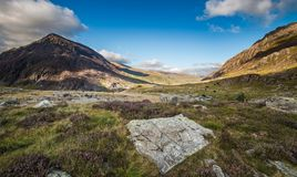 Scenic Llyn Ogwen Valley at Summer in Snowdonia National Park, W Royalty Free Stock Photography