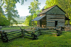 Scenic log cabin in Cades Cove. A log cabin in The Great Smoky Mountains Stock Photography