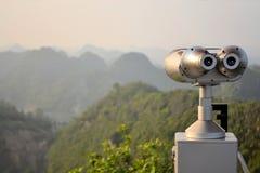 Scenic lookout binoculars Vietnamese island Cat Ba Royalty Free Stock Image