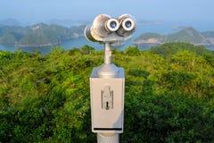 Scenic lookout binoculars Vietnamese island Cat Ba Royalty Free Stock Photography