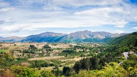 Scenic Lookout on the Crown Range Road in New Zealand. Scenic Lookout from Arrow Junction on the Crown Range Scenic Road in between Queenstown and Wanaka in New Royalty Free Stock Photos