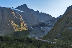 Scenic lookout of Hollyford Valley at Monkey Creek on Milford Road to Milford Sound Stock Photography
