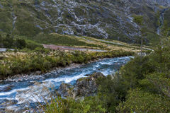Scenic lookout of Hollyford Valley at Monkey Creek on Milford Road to Milford Sound Royalty Free Stock Photo