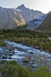 Scenic lookout of Hollyford Valley at Monkey Creek on Milford Road to Milford Sound Stock Image