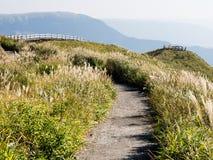 Scenic lookout at the north rim of Aso volcanic caldera. Aso-Kuju National Park, Kumamoto prefecture, Japan royalty free stock image