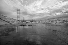 Scenic Los Angeles River Black and White. The gritty Los Angeles river in black and white Royalty Free Stock Photos