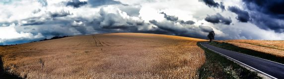 Scenic magical landscape with frightening atmosphere. Dark dramatic clouds, asphalt road,agriculture field,solitary tree, summer .Creative post processing royalty free stock images