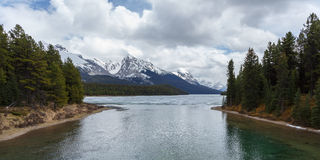 Scenic Maligne Lake. And trout spawning river in the Canadian Rocky Mountains Jasper National Park, Alberta Stock Image