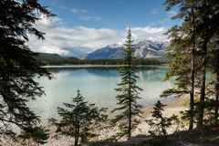 Scenic Maligne Lake. And trout spawning river in the Canadian Rocky Mountains Jasper National Park, Alberta Stock Photos