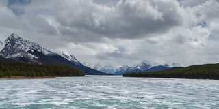 Scenic Maligne Lake. And trout spawning river in the Canadian Rocky Mountains Jasper National Park, Alberta Stock Images
