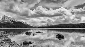 Scenic Maligne Lake. And trout spawning river in the Canadian Rocky Mountains Jasper National Park, Alberta Royalty Free Stock Images