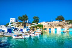 Scenic Mandrakia village traditional Greek village by the sea, the Cycladic-style with sirmata. royalty free stock images