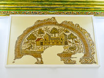 The scenic mansion on mosaic picture. TUNIS, TUNISIA - SEPTEMBER 2, 2015: The ancient mosaic depicts the Roman villa, surrounded by forest, full of birds, Sousse Royalty Free Stock Photos