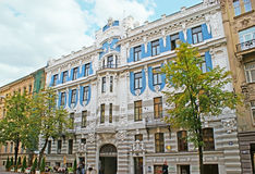 The scenic mansion. RIGA, LATVIA - SEPTEMBER 19, 2011: Riga boasts the district, designed in art nouveau (jugend) style, like this building, for example Royalty Free Stock Photos