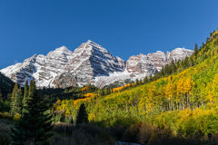 Scenic Maroon Bells Aspen Colorado in Fall Stock Photo