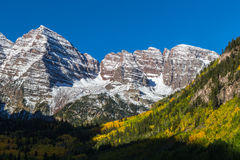 Scenic Maroon Bells in Autumn Stock Photo