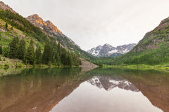 Scenic Maroon Bells Reflection at Sunrise Stock Photos