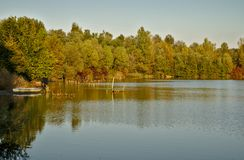 Scenic marshland during autumn time stock images