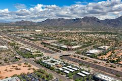 Scenic McDowell Mountains from above freeway in Scottsdale, Arizona. The Scenic McDowell Mountains in Scottsdale, Arizona from above the Loop 101 freeway and royalty free stock photography