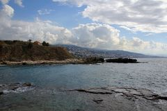 Mediterranean coast of ancient city Byblos view, Lebanon Royalty Free Stock Photos