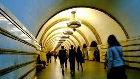 The scenic Metro Station in Kiev, Ukraine. KIEV, UKRAINE - APRIL 14, 2018: Long hall of crowded Zoloti Vorota Golden Gate Metro station, decorated arched vault stock video