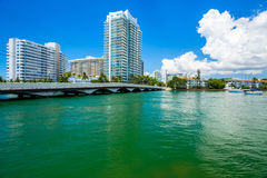 Miami Beach Cityscape. Scenic Miami Beach cityscape view of the Venetian Causeway with sailboats and condos along the bay Royalty Free Stock Photo
