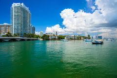 Miami Beach Cityscape. Scenic Miami Beach cityscape view of the Venetian Causeway with sailboats and condos along the bay Stock Image